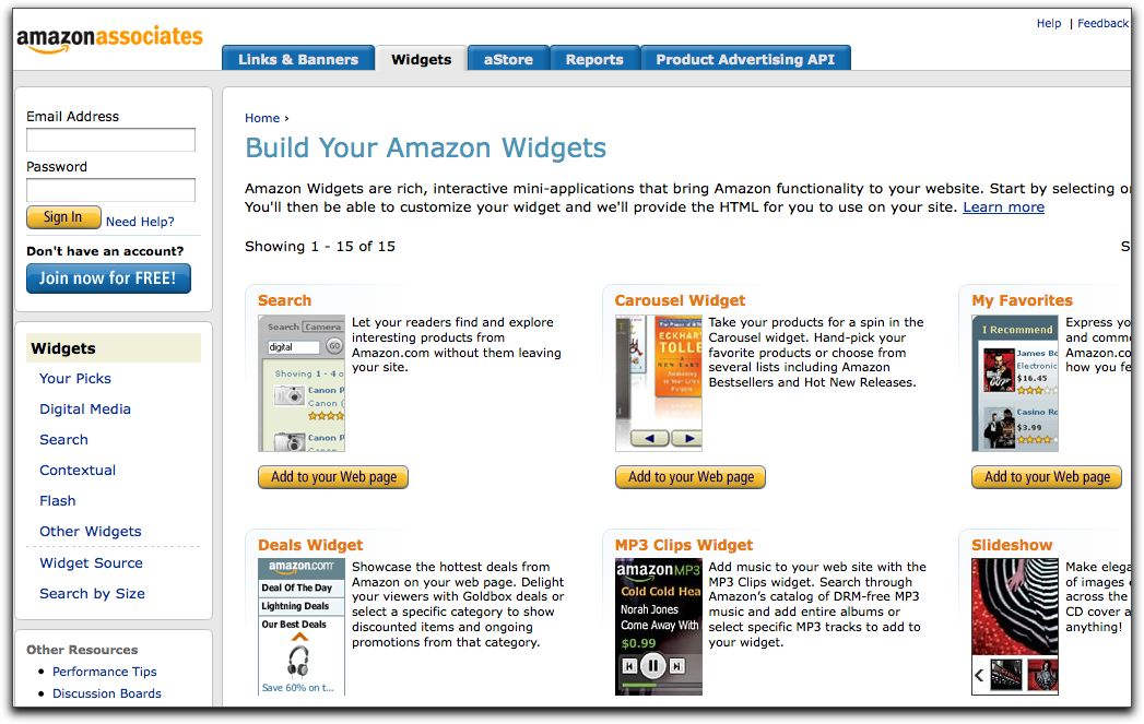 amazon API widgets
